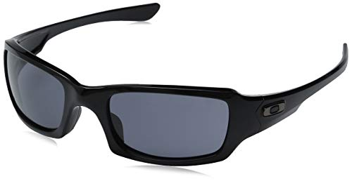 Oakley Men's OO9238 Fives Squared Rectangular Sunglasses, Polished Black/Grey, 54 mm