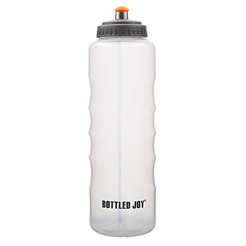 BOTTLED JOY Squeeze Sports Bottle, 1500ml 52oz One-Hand Hold Large Capacity Big Water Bottle, 100% BPA-Free Bike Water Bottles for Sports Cycling Outdoor Hiking Camping (Clear)