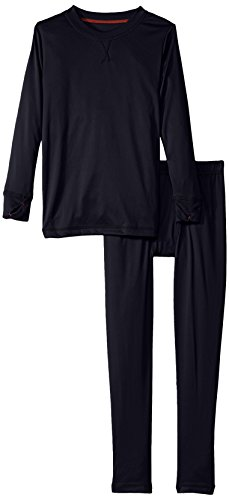 Cuddl Duds Boys' Big Climate Smart Essential Poly Two-Piece Thermal Set, Navy Solid, - Poly Thermal Midweight