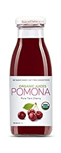 Pomona Organic Juices Pure Tart Cherry Juice, 8.4 Ounce Bottle (Pack of 12), Cold Pressed Organic Juice, Non-GMO, No Sugar Added, Not from Concentrate, Gluten Free, Kosher Certified, Preservative Free
