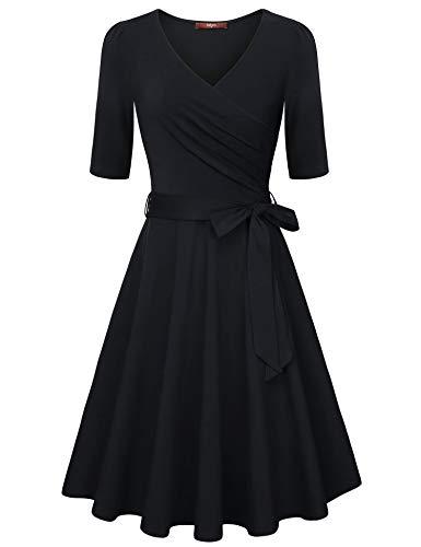 Gaharu Black Dress Dresses for Women Casual Work Elegant Midi Dresses with Belt Sexy V Neck Dress A Line Cotton Flare Dress Black,X-Large ()