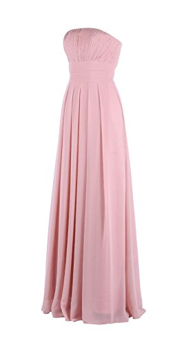 YiYaDawn Women's Long Prom Dress Formal Evening Gown Size 16 US Peach Pink