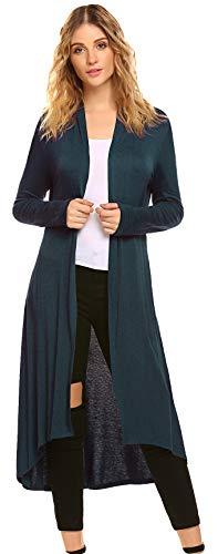 (POGTMM Women's Long Open Front Drape Lightweight Duster High Low Hem Maxi Long Sleeve Cardigan(S-3XL) (Teal Blue, US XL(16-18)))