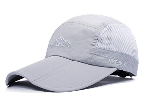 ELLEWIN Baseball Cap Quick Dry Travel Hats UPF50+ Cooling Portable Sun Hats for Sports Golf Running Fishing Outdoor Research with Foldable Long Large Bill, A-light Grey, M-L-XL ()