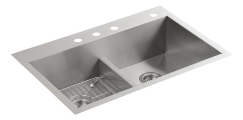 "KOHLER Vault 33"" Double-Bowl 18-Gauge Stainless Steel Kitchen Sink with Smart Divide with Four Faucet Holes K-3838-4-NA Drop-in or Undermount Installation, 9 Inch Bowl"
