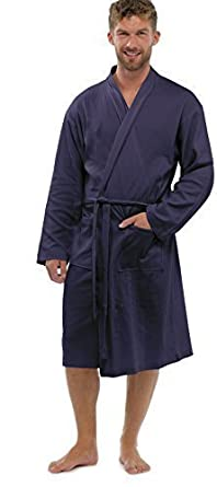 Mens 100 Cotton Summer Waffle Dressing Gowns Robe Lxl Blue