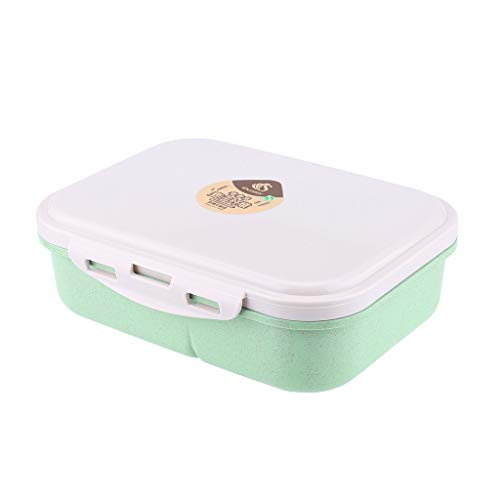 Fan-Ling Lunch Box On-The-Go Meal Snack Packing 3 Compartment Lunchbox Container,Lunch Box Food Container Storage Box Portable Bento Box,Durable, Attractive, and Easy to Clean (Green) (Pot Backpacker)