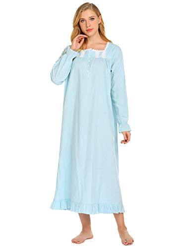 (Ekouaer Women's Lawn Long Sleeve Victorian Nightgown Button-up Full Length Sleepwear ,Blue,Small )