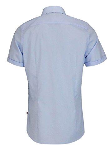 PURE Slim Fit Hemd Halbarm New Kent Kragen ohne Brusttasche hellblau