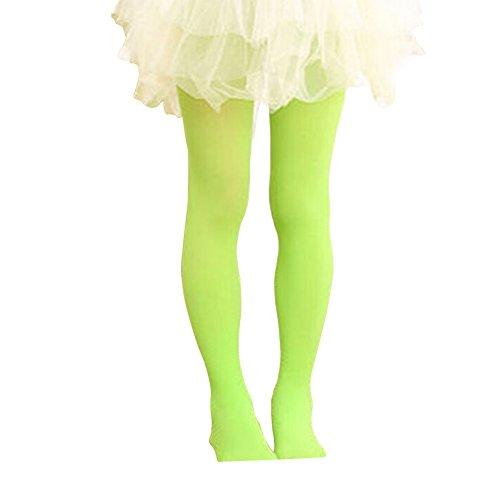 Hamkan Baby Girl Dance Footed Tights Stockings Toddler Ballet Leggings Girls' Solid Color Microfiber Opaque Seamless Tights Legging for 3T- Adult(S,Green)