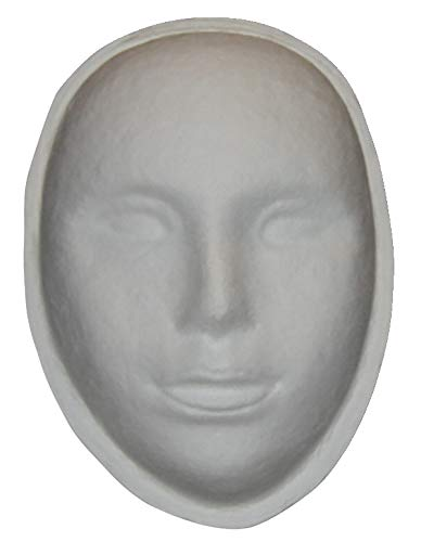 White Paper Mache - School Specialty Decorative Papier-Mache Art Mask, 8 X 6 X 3 in, White - 464381