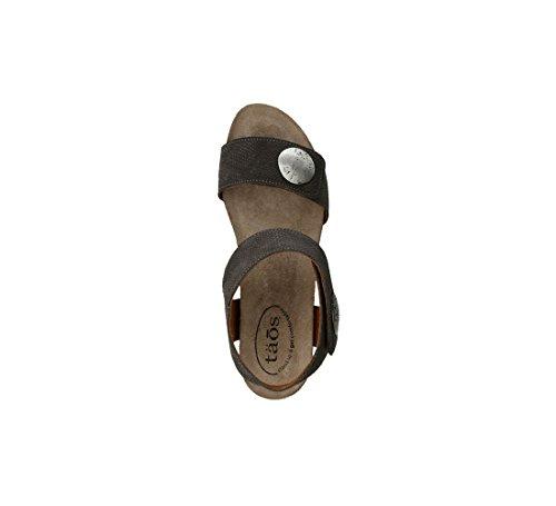 Camoscio Taos Donne Calzature Giostra 2 In Pelle Sandalo Grigio Scuro Goffrato