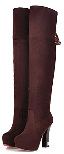 IDIFU Womens Sexy Faux Suede Platform Over Knee High Boots With Heel Brown EsO8hIwpS
