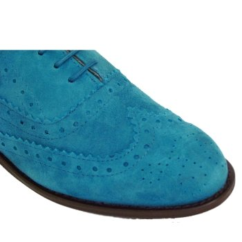 2a66894327944 Womens Turquoise Suede Leather Brogue Ladies Lace-Up Shoes: Amazon ...