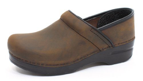Dansko Womens Professional Antique Brown/Blonde Oiled Leather Clog - 38