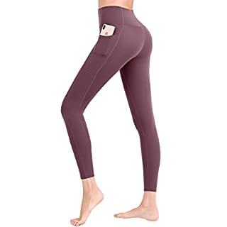 Womens Athletic Pocket Yoga Tummy Control Compression Pants High Waisted Sport Running Gym Legging Purple XL