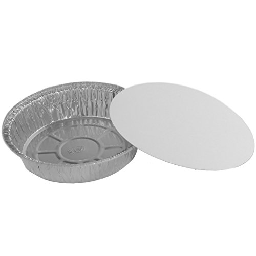 Simply Deliver 7-Inch Round Disposable Take-Out Pan with Board Lid Set, 25 Gauge Aluminum, 200-Count