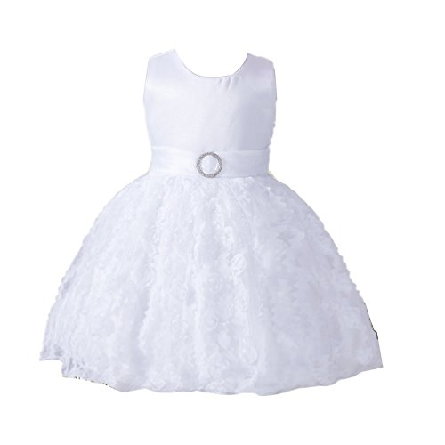 ZAMME Vestidos formales del partido del baile del bautismo del bautizo de la niña Bautismo Blanco