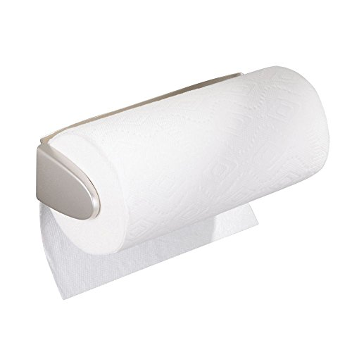 mDesign Metal Wall Mount Paper Towel Holder & Dispenser, Mounts to Walls or Under Cabinets - for Kitchen, Pantry, Utility Room, Laundry and Garage Storage - Holds Jumbo Rolls - Satin