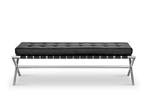 Terrific Amazon Com Black Leather Bench Bella Modern With Faux Machost Co Dining Chair Design Ideas Machostcouk