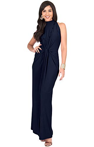 Halloween Fancy Dress Party London 2019 (KOH KOH Petite Womens Long Sleeveless Sexy Vintage Cocktail Slimming Party Evening Summer Sun Prom Bridesmaid Wedding Guest Sundress Gown Gowns Maxi Dress Dresses, Dark Navy Blue S)