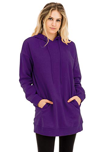 - Women's Casual Loose Fit Long Sleeves Over-Sized Sweatshirts Purple L/XL