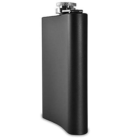 12oz Taschenflasche Schnapsflasche Trinkflasche ToBeIT Flachmann Edelstahl 12oz in Schwarz matt mit praktischen Trichter