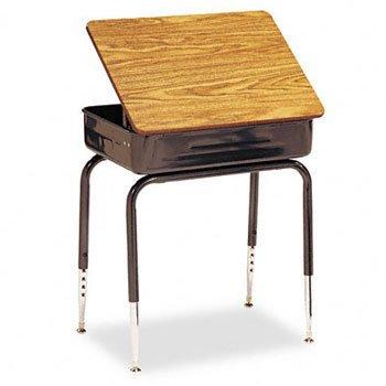 Virco Lift-Lid Student Desk, 24w x 18d x 30h, Medium Oak, 2/Carton ()