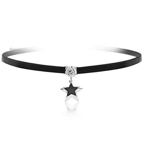 URDEAR New Black Choker Necklace for Women Girls, Silver Accented Choker Necklace with Shiny Zircon Star Pendant Necklace Jewelry Gifts for Women