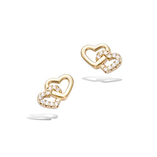 Agvana Gold Plated Sterling Silver Cubic Zirconia Love Heart Stud Earrings Cute Trendy Jewelry Gift for Women Girls, Size 0.4