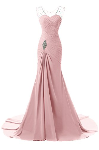 Prom Gown Aurora (Aurora Bridal Long Chiffon Beaded Blush Evening Dresses for Women Formal Gowns)