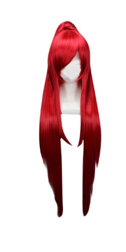 (Tsnomore Long Curly Lolita Cosplay Wig + 2 clip on Ponytail (Red))