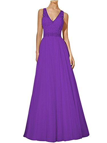 Lang Damen linie Lila Brautmutterkleider V Rock Charmant A Spitze Festlichkleider ausschnitt Abendkleider Partykleider 5Rdx1Z1w