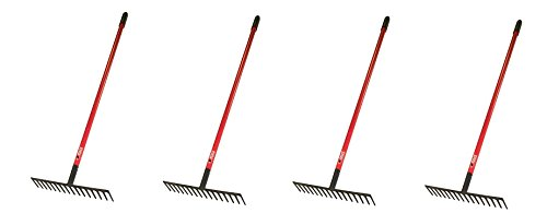 Bully Tools 92311 16-Inch Level Head Rake with Fiber Glass Handle and 14 Steel Head Tines, 60-Inch (4-Pack)