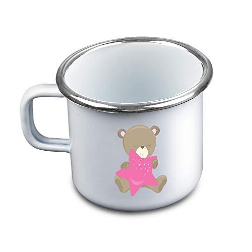 Childrens Star Enamel (Baby Bear Hold Star Girl Metal Camping Mug Enamel Cup)