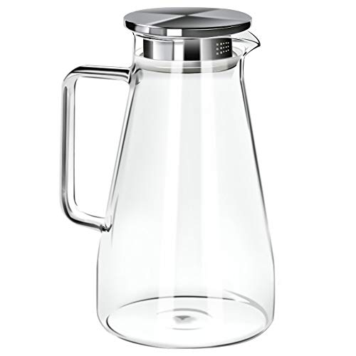 - 52 Ounces Borosilicate Glass Pitcher with Handle - Heat Resistant Water Carafe with Stainless Steel Lid - Large Beverage Pitcher for Homemade Juice and Iced Tea