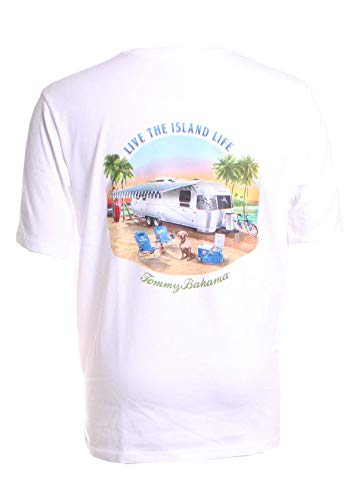 (Tommy Bahama Mens. Crew Neck Graphic T-Shirts (Live The Island Life/White, Medium))