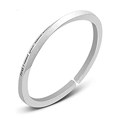 2706d1706180b Sterling Silver Cuff Bangle Bracelet Personalized Inspirational Message  Engraved Custom Jewelry Girl Gift