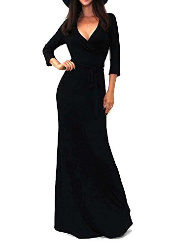 Vivicastle Women's Solid V-Neck 3/4 Sleeve Faux Wrap Waist Long Maxi Dress (Large, Black) ()