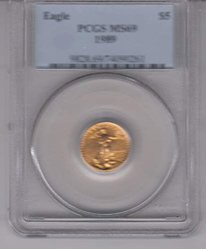 1989 $5 1/10 OZ. American Eagle Gold Coin Certified $5 MS69 PCGS