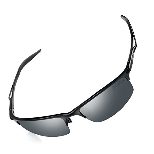 GREY JACK Sports Style Polarized Sunglasses Al-Mg Metal Frame Ultra Light for Men Women Black Lens