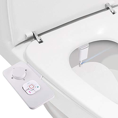 Bidet Attachment - SAMODRA Non-electric Cold Water Bidet Toilet Seat Attachment with Pressure Controls,Retractable Self-cleaning Dual Nozzles for Frontal & Rear Wash - White