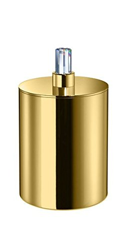 Concept Round Cotton Cotton Ball Swab Holder Container Jar for Bathroom W/ Swarovski Crystals (Polished Gold) by W-Luxury
