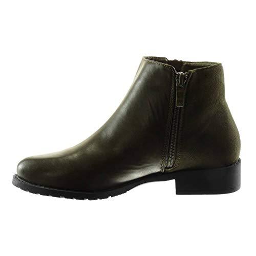 Biker 3 Shoes Boots Khaki Women's Rhinestone Block cm Green Angkorly Ankle Heel Material Booty Pearl Zip Fashion bi 1wR4yqT8