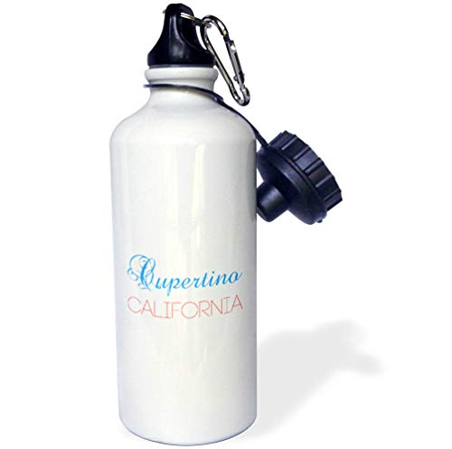 - 3dRose Alexis Design - American Cities California - Cupertino, California, red, Blue Text. Patriotic Home Town Design - 21 oz Sports Water Bottle (wb_302734_1)