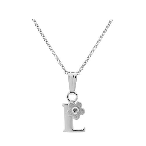 Sterling Silver Diamond Initial L Pendant Girls Necklace (14-16 in)