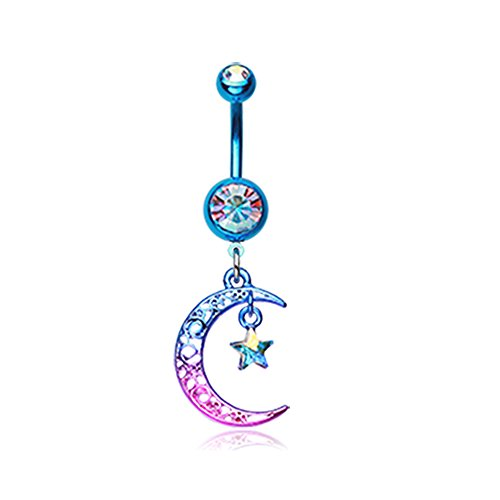 14G Colorline Filigree Moon Star Sparkle Inspiration Dezigns Belly Button Ring -