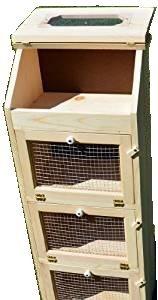 (Amish Handcrafted Solid Pine Bread Box and 3 Door Vegetable Bin. Measures 16.5