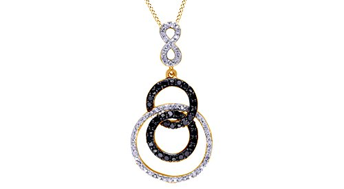 Drop Circle Pendant Triple (Jewel Zone US Black & White Natural Diamond Triple Circle Infinity Drop Pendant Necklace 925 Sterling Silver (1/10 Ct))