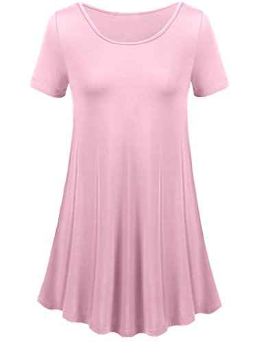 Le Top Pink Dress (Uvog Womens Round Neck Elong Tunic Top Mini T-Shirt Dress (Plus Size Available) (3XL, Pink))